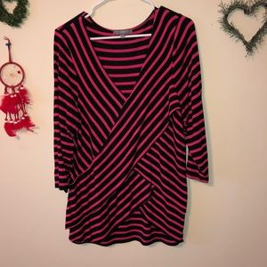 Hot pink& black striped top
